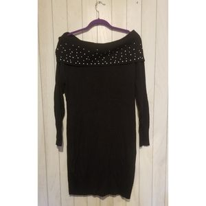 Black body con sweater dress with beaded neckline